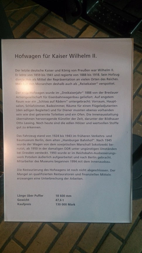 Despre vagon, în germană
